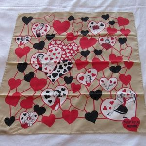 Moschino Silk Scarf 25 x 25 Beige NWT